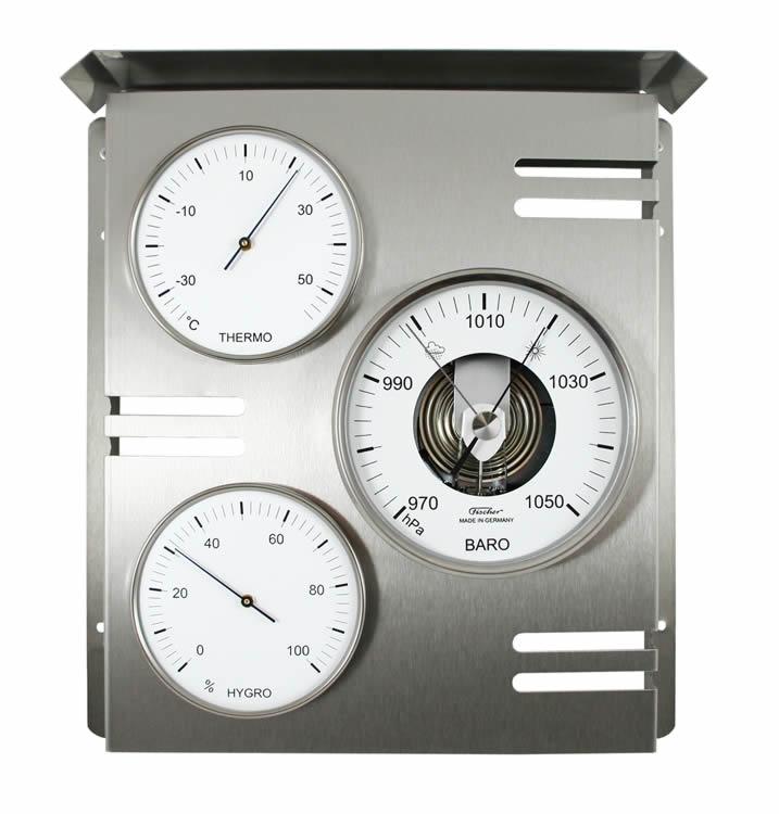 Edelstahl Hygrometer 818-01 Fischer Wetterwarte außen Barometer Thermometer